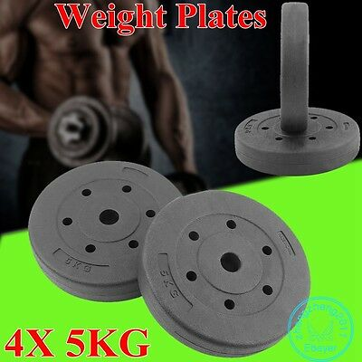 4X 5KG Weight Plates Barbell Dumbbell Plate Gym Weights Sport Fitness Exercise