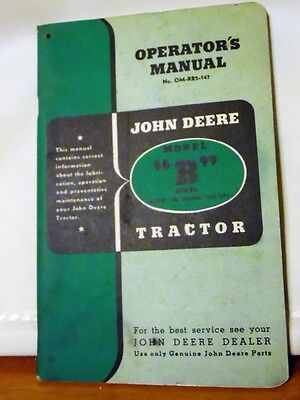 Original John Deere Operator Manual Model B Series Antique Tractor