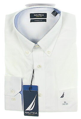 New With Tags Men's NAUTICA White Long Sleeve Dress Shirt Size 16 34/35