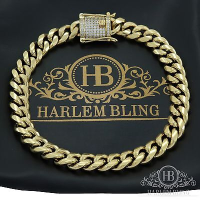 Mens Miami Cuban Link Bracelet Stainless 14k Gold Plated 8mm *1ct Diamond Clasp*