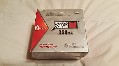 Brand New 6 Pack 250mb Iomega Zip Drive Disks