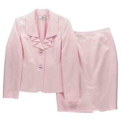 Le Suit 3128 Womens Pink Two-Button Blazer Ruffled 2PC Skirt Suit 4 BHFO