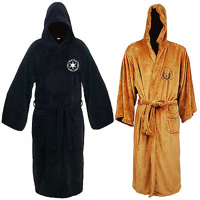 New Star Wars Jedi Knight Costume Hooded Toweling Bath Robe velour Size M/L