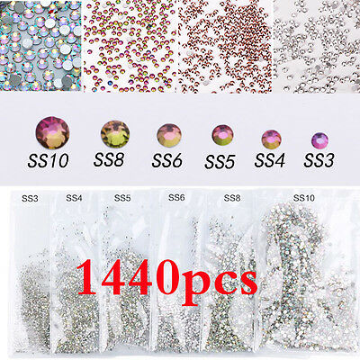 1440pcs DIY Nail Art Tips Charm Gems Crystal Glitter Rhinestones 3D Decoration