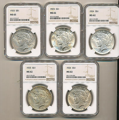 1/2 ROLL (10) NGC 1923 1924 1925 PEACE Silver Dollars BU Uncirculated MS62