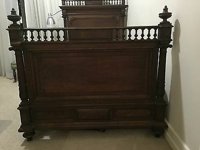 Antique French Henry Henri II 1800's Single Timber Bed