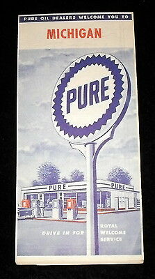 Vintage 1950s Michigan state road map from Pure Oil Company