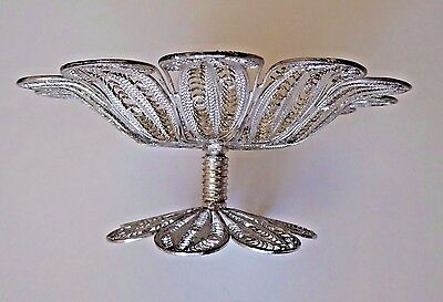 Sadaf Hosseiny Silver Persian Pedestal Candy Dish With Lacey Design