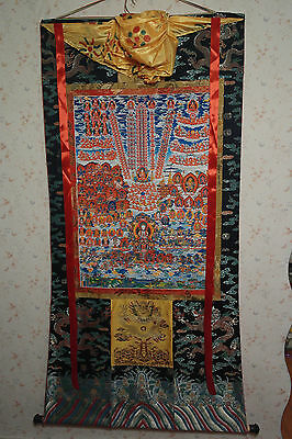 Yungdrung Bon refuge thanka, thangka, XXL Big, genuine brocade, Menri tradition