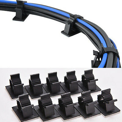 Hot 10x Wire Holder Cable Clips Adhesive Fixed Management Black Organizer Clamp