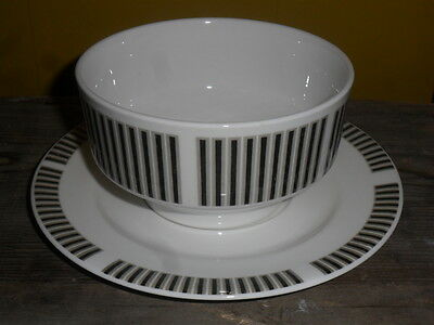 Royal Osborne Soup Bowl And Saucer 3 Available Monochrome Geometric Free Postage
