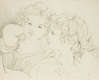 Classical Late 19th Century Graphite Drawing - Portrait of Children