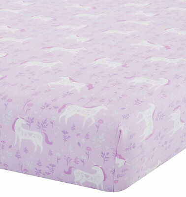 Girls, Pink Unicorns Single Fitted Sheet