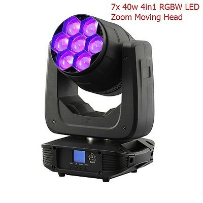 7x40w 4in1 Zoom Moving Head RGBW LED Light DMX512 Super Bright Stage Lighting