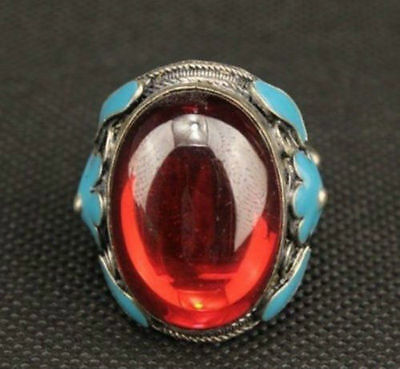 Beautiful Chinese Old Handwork Miao Silver Carving Flower Inlay Red Zircon Ring
