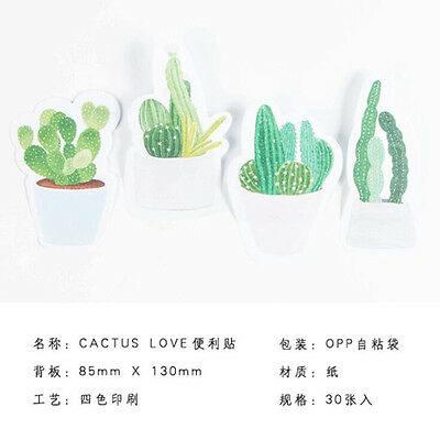 Popular Fresh Cactus Green Plant Love Self-Adhesive Memo Pad Sticky Note Planner