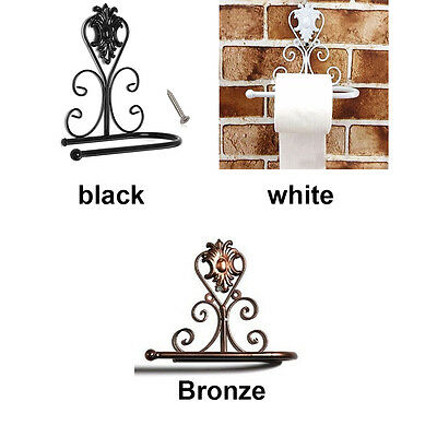 Classical Vintage Iron Toilet Paper Towel Roll Holder Bathroom Wall Mount Rack