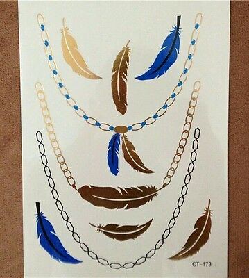 Gold Blue Black Feathers Chains Necklace Temporary Tattoos  3D   Waterproof UK