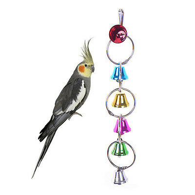 Pet Bird Parrot Cage Accessory Bell Toy Stand Chewing Bell Swing Bar Ladder Toys