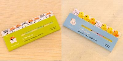 Cute Note Stick Marker Post it Sticker Stationery- Duck & Hamster (2types*1pk )