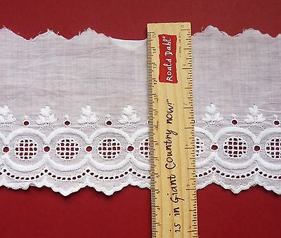 3 Lengths Of Vintage White Eyelet Trim, Broderie Anglaise Cotton Lace