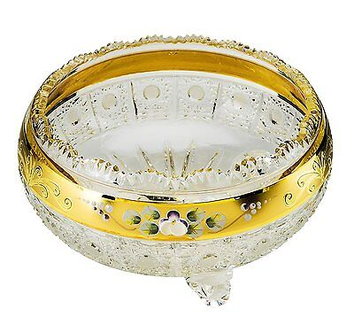 "6""Dia Crystal Fruit Bowl, Centerpiece Decorative Gold-Plated Bowl, Wedding Gift"