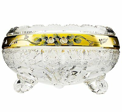 """8""""Dia Crystal Fruit Bowl, Centerpiece Decorative Gold-Plated Bowl, Wedding Gift"""