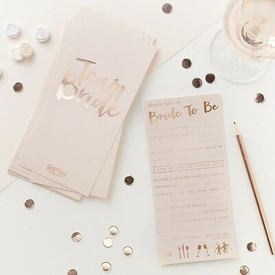 Pink & Rose Gold Advice For The Bride Cards - Hen-Bachelorette- Party Team Bride