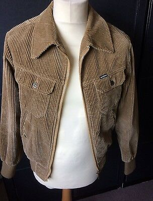 Vintage Mustang Tan Corduroy  Fully Lined Bomber Jacket M