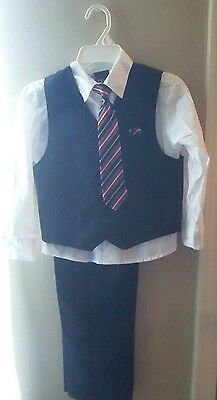 Youth Boys Formal Church Wedding Black White Red 4pc Suit- Size 7