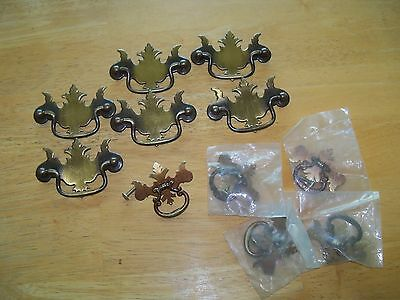 LOT of Vintage Brass Copper Colonial Drawer FURNITURE Pulls