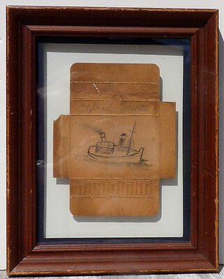 ALFRED WALLIS, MINIATURE DRAWING OF SHIP on REVERSE OF OLD CIGRETTE PACK