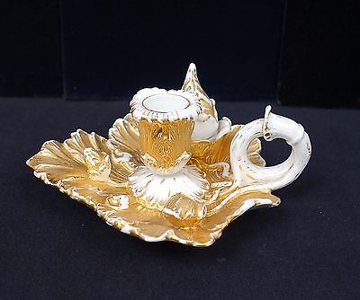 Superb Antique 19c Meissen Porcelain Gilded Ornate Chamber Stick Candle Holder