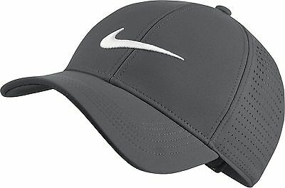 NEW Nike AeroBill Legacy 91 Perforated Dark Gray/White Adjustable Hat/Cap