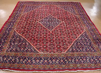 10 x 13 PERSIAN MAHAL Tribal Hand Knotted Wool RED NAVY Oriental Rug Carpet