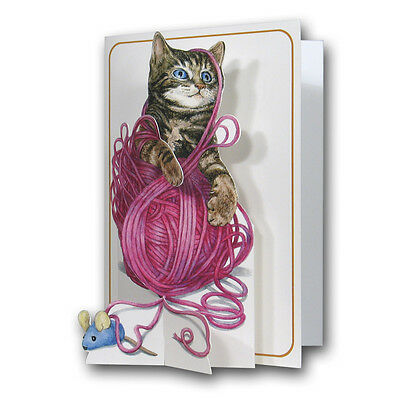 Pictoria Press 3D Pop Up Greeting Card Cat Kitten Happy Birthday Any Occasion