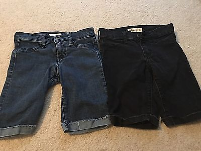 2 Pairs Of Abercrombie Little Girls Jean Shorts Size 10