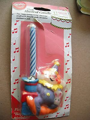 WILTON Clown Musical Candle 1995 Cake Topper Happy Birthday