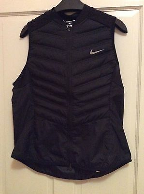 NIKE Womens Aeroloft 800 Lightweight Gilet Running Size Large in Black
