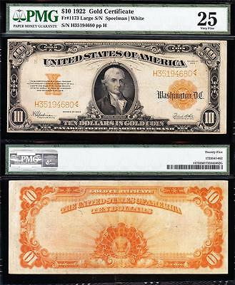VERY NICE Bold & Crisp VF 1922 $10 GOLD CERTIFICATE! PMG 25! FREE SHIP H35194680