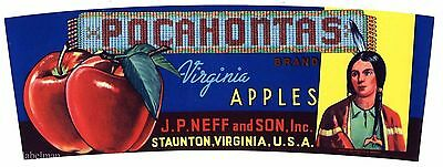 POCAHONTAS Brand, Staunton, Virginia, Apple *AN ORIGINAL FRUIT CRATE LABEL*