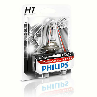 Lamp Philips PX26D Socket 12V 55W clear H7 Extreme Vision Moto 100% More Light