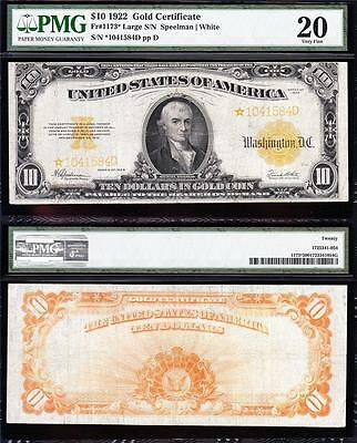 Nice RARE *STAR NOTE* VF 1922 $10 GOLD CERTIFICATE! PMG 20! FREE SHIP! *1041584D