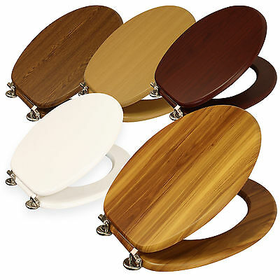 "New 18"" Mdf Universal Bathroom Wc Toilet Seat Easy Fit With Fittings Wooden W/c"