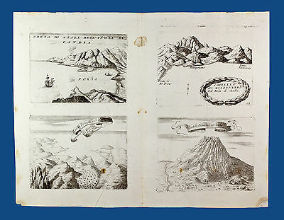 Old Map Coronelli, Isola di Candia No. 4 engravings on to one sheet. Venice 1690