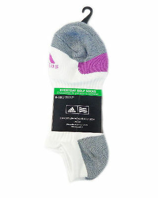 NEW Adidas Everyday Golf Socks White/Gray/Purple Womens Golf Socks Size 8-10