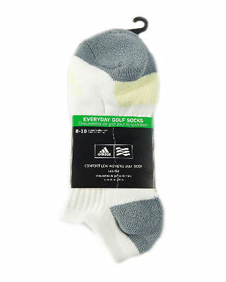 NEW Adidas Everyday Golf Socks White/Gray/Yellow Womens Golf Socks Size 8-10