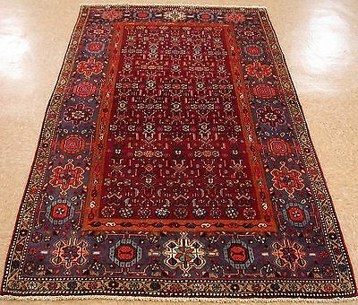 4 x 7 PERSIAN BIJAR Tribal Hand Knotted Wool BURGUNDY RED BLUE Oriental Rug