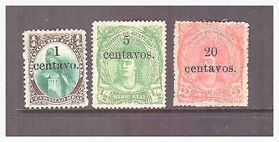 Guatemala 1881 Native Indian decimal currency mint hinged stamps SG17,18,20