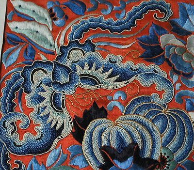 Antique Chinese Embroidery With Forbidden Stitch Bats And Melons